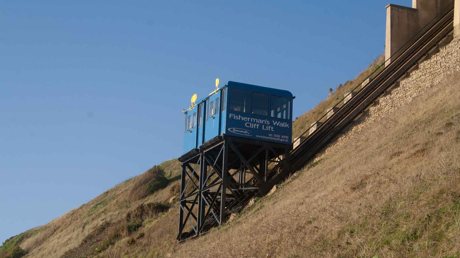 <b>fishermans-walk-gallery1.jpg</b> <br/> Cliff Lift at Fisherman's Walk Beach, a welcome relief when the Zig Zag is a little too steep to climb